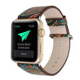 Wholesale Flower Belt Buckles - Flowers Painted style Watchband for Apple Watch Band 38mm 42mm Genuine leather Strap for iwatch Series 1 2 3 Bracelet belt