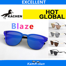 Wholesale frame sizes glasses - KaChen 47mm 140 size resin mirror Blue pink silver lens matel frame UV400 3576 protection AAA 1:1 quality sunglasses glasses men women
