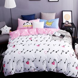 Wholesale Chinese Arrows - Wholesale- New printed bedding sest excellent imitation cotton love the arrow bed sheet quilt duvet cover pillowcase 3 4 pcs Queen Full Twi