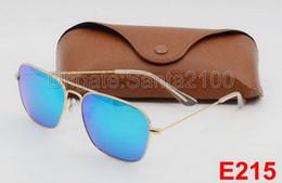 Wholesale Flashing Fashion - 1pcs Best Quality Men Women Fashion Rectangle Sunglasses Caravan Sun Glasses Gold Alloy Metal Flash Mirror Blue 58mm Glass Lenses With Cases