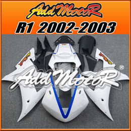 Wholesale Yamaha Race Fairings - +5 Free Gifts! Addmotor Best Chioce Injection Mold Plastic Fairings Kit For Yamaha YZF-R1 2002-2003 Body Kit White Blue Racing Fairing Y1280