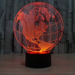 Wholesale American Earth - 3D LED Lamp Lights-earth form of 3D Color Art Sculpture American Optical Illusion LED 3D globe night lamp with touch button