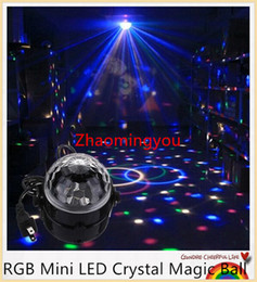Wholesale Led Mini Strobe - YON Mini RGB LED Crystal Magic Ball Stage Effect Lighting Lamp Party Disco Club DJ Bar Light Show 100-240V US Plug