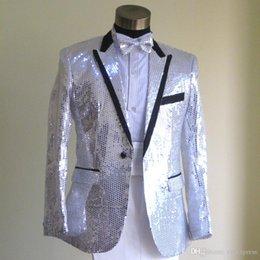 Wholesale Renaissance Pants Men - Plus Size White Sequins Suit with pants Medieval Renaissance singer performance Blazer costume S-3XL