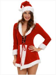Wholesale Ladies Red Dress Hats - Sexy Christmas Dress Santa Bandage Long Sleeve Mini Skirt Set Sexy Dress For Ladies Christmas Costumes Cosplay With Hat