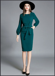 Wholesale Office Wear Long Sleeves Dress - Autumn Womens New Elegant Lantern Sleeve Solid Color Banded Waist Collar OL Dress green office dresses 085#