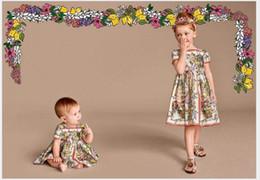 Wholesale Sheath Dress Kids - Top Quality 2016 Summer Wlmonsoon Girls Short Sleeve Dress Children Floral Printing Princess Dresses Kids Clothing Fashion Girl Dress 4-12T