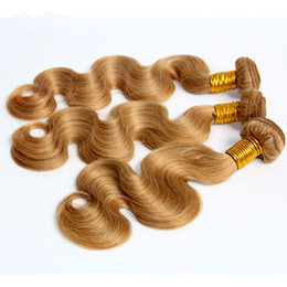 Wholesale Remy Eurasian - Honey Blonde Brazilian Body Wave Human Hair Weaves Bundles Color 27# Peruvian Malaysian Indian Eurasian Russian Virgin Remy Hair Extensions