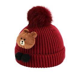 Wholesale Wholesale Cuffed Beanies - 2017 Child Unisex Cable Knit Beanies Cartoon Design Pom Pom Hats Kids Winter Warm Cuffed Caps Skullcap MZ5038