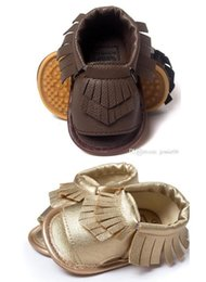 Wholesale Kids Party Shoes Size - Brand new baby girl boy Fringed leather moccasins sandals First Walker Shoes kids toddler tassel non slip shoes 3M-18M colorful party gift