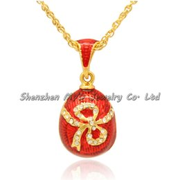 Wholesale Faberge Egg Pendant - Stylish women jewelry high quality necklace colorful enameled ribbon knot bow girls Russian style Faberge egg pendants for ladies