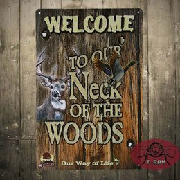 Wholesale Wood Craft Wall Art - Welcome to our neck of the woods tin Signs Gift Kid's room Wall art Painting Poster Bar Craft Decor E-30 160909#