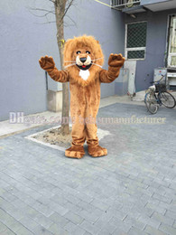 Львиный костюм талисмана горячая распродажа скидка, могучий высокое качество красно-коричневый плюшевый львиный костюм талисмана взрослого типа бесплатная доставка. от Поставщики плюшевые костюмы костюм