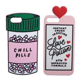 Iphone divertido 3d online-3D Sweet Love Polion Chill Pills goma suave cubierta trasera linda para Apple iPhone 6 6s 4.7 '' caja de silicona del teléfono divertido Shell