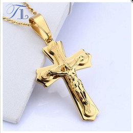 Wholesale Wholesale Crucifix Pendants - TL Necklace Pendant Brand Necklace Silver Gold Color Jewelry Antique Cross Crucifix Jesus Cross Pendant Necklaces For Women Men