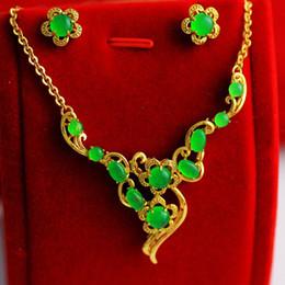 2019 venta al por mayor de joyería de tanzanita Rápido envío gratis Fine Malay jade verde 18k oro ifilled nlaid piedras preciosas collar pendientes pulsera