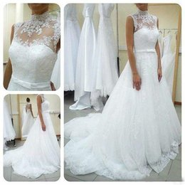 Wholesale Image Decoration - 2016 New Spring High Neck Wedding Dresses Sleeveless Sash Decoration A Line Bridal Ball Gowns Covered Back With Button Train Vestidos De