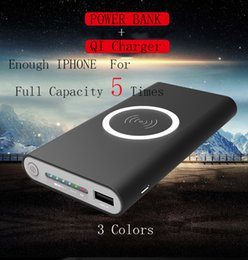 Wholesale Real Banks - QI Wireless Charger With Power Bank 20000mah For Smartphone Iphone 8 Can Completely Charge 5 Times Real 2000mah For QI Power Bank