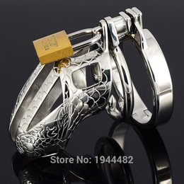 Wholesale Dragon Penis - Small Chastity Device Stainless Steel Cock Cage Metal Male Chastity Belt Penis Ring Bondage Sex Toys Dragon Totem Virginity Lock