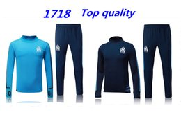 Wholesale Men S Track Suits - 2017 Olympic Marseille Tracksuit Soccer Jogging Football Tops Coat Pants Sports Training 17 18 Suit Men Adults OM Football Track Suit