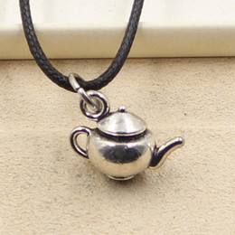 Wholesale Tibetan Teapots - 12pcs New Fashion Tibetan Silver Pendant teapot 18*13*10mm Necklace Choker Charm Black Leather Cord Factory Price Handmade Jewlery