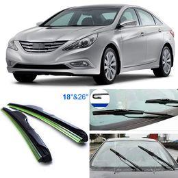 "Wholesale Wiper Arm Blades 26 - 2pcs 26""+18"" front windscreen windshield wiper blades Soft Rubber WindShield Wiper Blade For Hyundai Sonata 8th"