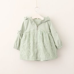 Wholesale Ruffle Girls Coat - Everweekend Girls Zipper Ruffles Lace Flowers Jacket Cute Baby Fall Candy Color Hooded Clothes Kids Fashion Autumn Coat