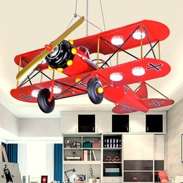 Wholesale Plane Ceiling Light - Modern Painted Metal Plane Kid's Bedroom Pendant Lamp LED Boy's Study Room Ceiling Lights Creative iron helicopter Ceiling Hanging Lamps