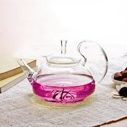 Wholesale Kettle Teapot Free Shipping - Free Shipping Teapots Tea Sets Clear Glass tea Kettles Easy Use Flower Hand Blown Tea Pot 600ml
