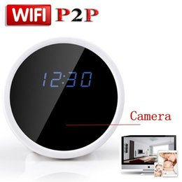 Wholesale Home Security Camera Clock - HD 1080P P2P WiFi Mini Hidden Spy Camera Alarm Clock with Motion Detection Infrared Night Vision Indoor Home Security Camera Video Recorder