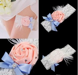 Wholesale Rosette Bows - Free Shipping Wedding Garter Ivory Bridal Garter Ivory Lace Garter Pink Rolled Rosette and Crystal Rhinestone CPA593
