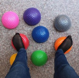 Wholesale Stones For Massage - 8 Colors Yoga Half Ball Physical Fitness Appliance Exercise Balance Ball Massage Point Stepping Stones Balance Ball for Kids CCA7489 60pcs