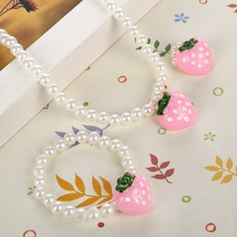 Wholesale Pearl Jewelry Sets For Kids - Pink Girls Strawberry Simulated Pearl Necklace Adjustable Finger Ring Cute Children Beads Jewelry Sets for Kids