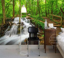 Wholesale Bridge Waterfall - Custom Photo Wallpaper Green forest woods bridge water river waterfall TV background wall paper 3D mural wallpaper