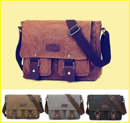 Wholesale Small Canvas Backpacks For Men - Canvas Messenger Shoulder Bag Laptop Designer Computer Bag Satchel School Working bag for Men and Women out099