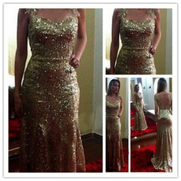 Wholesale Dresse Celebrity - Gold Sequins Sexy Long Pageant Formal Dresse Evening Prom Celebrity Wedding Dresses Mermaid Lace Backless Sleeveless Cocktail Party Gowns