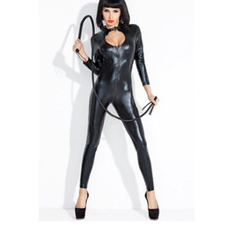 Wholesale Leather Men S Catsuit - Wholesale-2016 Hot Sexy Lady Black Leather Latex Catsuits Low Cut With Zipper Open Crotch Elastic Wetlook Bodysuit Bar Clubwear W377794