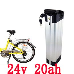 Wholesale 24v Li Ion Charger - 24v silver fish li ion battery pack 24v 20ah lithium battery for electric bike with free charger