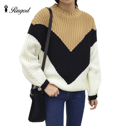 Wholesale Chunky Sweaters - Wholesale- Loose Big V Contrast Color Sweater Chunky Knit Long Knitted Women Sweaters and Pullovers Tricot Oversized Patchwork Pull Femme