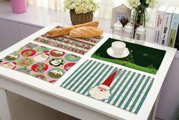 Wholesale Wholesale Printed Table Linens - Christmas Placemat Party Festival Tables Place Mats Printed Christmas Tree Santa Claus Snowflower Cotton Linen 42*32cm Table Mat