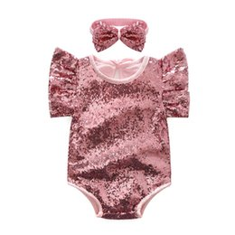 Wholesale Lace Shorts Romper - Baby Clothing Infants Romper Girl Sequins Romper Fashion Newborn Romper Kids Fly Sleeve Jumpsuits pink color