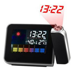 Wholesale Projection Lcd - New Attention Projection Digital Weather LCD Snooze Alarm Clock Color Display LED Backlight Cooseela Free Shipping