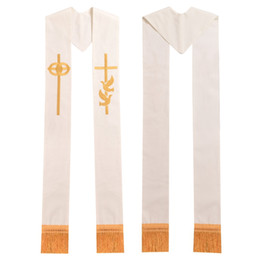 Wholesale White Wedding Stole - Minister Clergy Stole Religon Gold Cross w Wedding Rings Rmbroidered Holy Dove Stole High Quality Fast Shipment