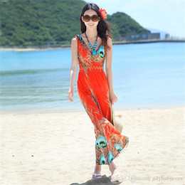 Wholesale Maxi Dresses Peacock Print - New 2016 orange blue plus size summer new deep v-neck peacock bohemia long beach dress sexy casual maxi dress 885