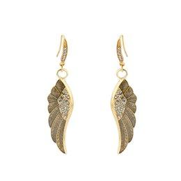 Wholesale Earring Golden Wings - Super Long Europe Trendy Wing Dangle Earrings With Rhinestone Golden Color Luxury Elegant Animal Women Chandelier Fashion Drop Earrings