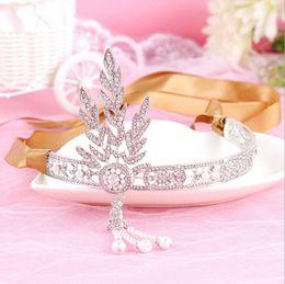 Gatsby crown on-line-2016 O Grande Gatsby Acessórios Para o Cabelo Pérola de Strass Nupcial Tiara Tiara Coroa de Jóias de Casamento Pageant Coroas Tiaras
