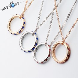 Wholesale Initial Letter Ring - New pendant necklaces Couple crystal letter necklaces I LOVE YOU MORE ring necklaces free shipping