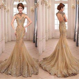 vestidos de noite com colar de strass Desconto Tulle Colarinho alto Sereia Vestido com cristais Beadings Pedrinhas Applique Lantejoula Ouro Prom Dress vestido largo de fiesta