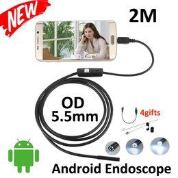 Wholesale Endoscope Camera 2m - Smart Android USB OTG Endoscopio 2M 5.5mm lens inspection Pipe Flexible Snake USB Endoscope Inspection Camera 6LED Android Borescope Camera
