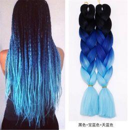 Wholesale Fashion Hair Colors - Z&F Kanekalon Fashion Braiding Hair Jumbo Braids Wefts Ombre Hair Bulk Synthetic Hair Extension Colors 24Inch 100G